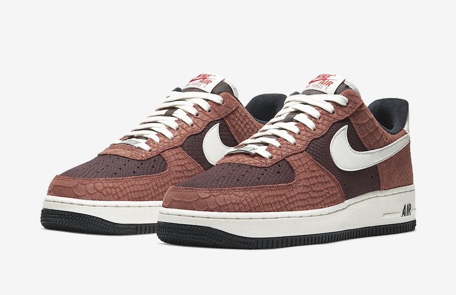 Nike Air Force 1 PRM Red Bark Snakeskin CV5567-200 Release Date Info