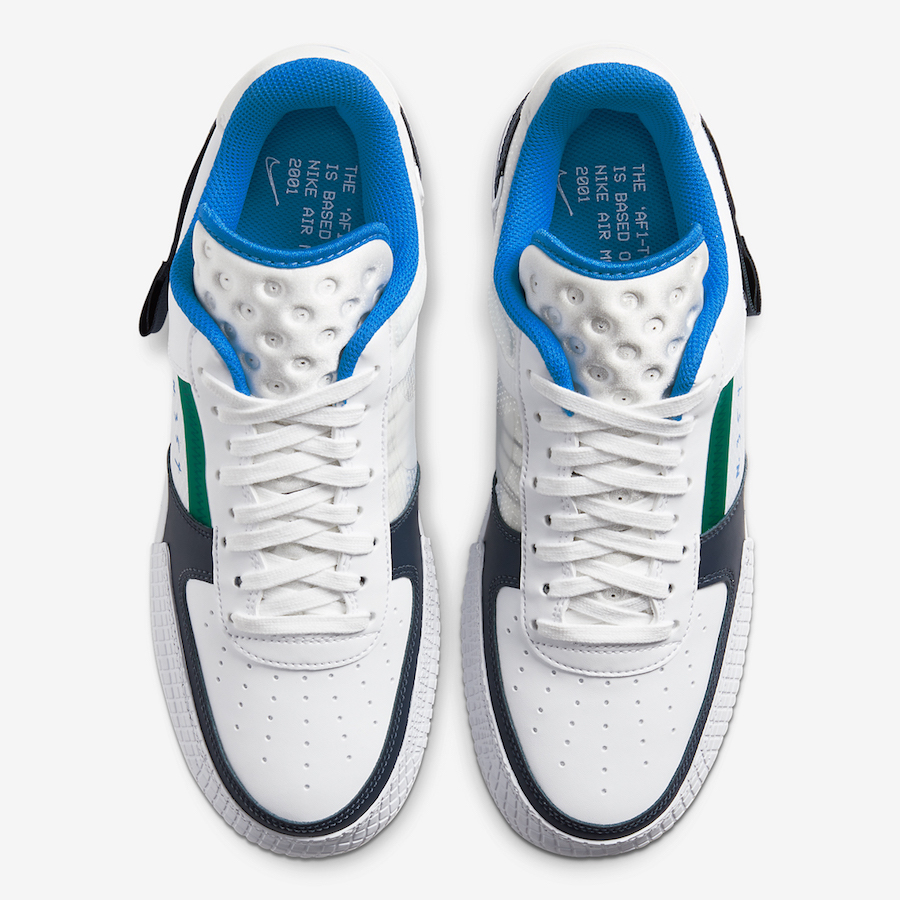 Nike Air Force 1 Type White Blue Navy Green CQ2344-100 Release Date Info
