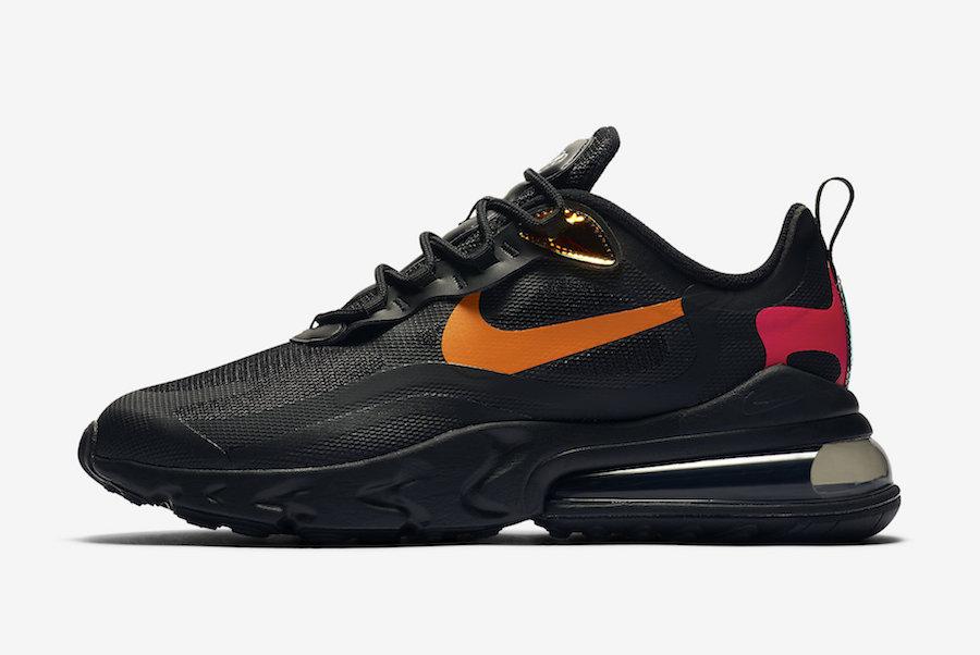 Nike Air Max 270 React Black Orange Red CV1641-001 Release Date Info