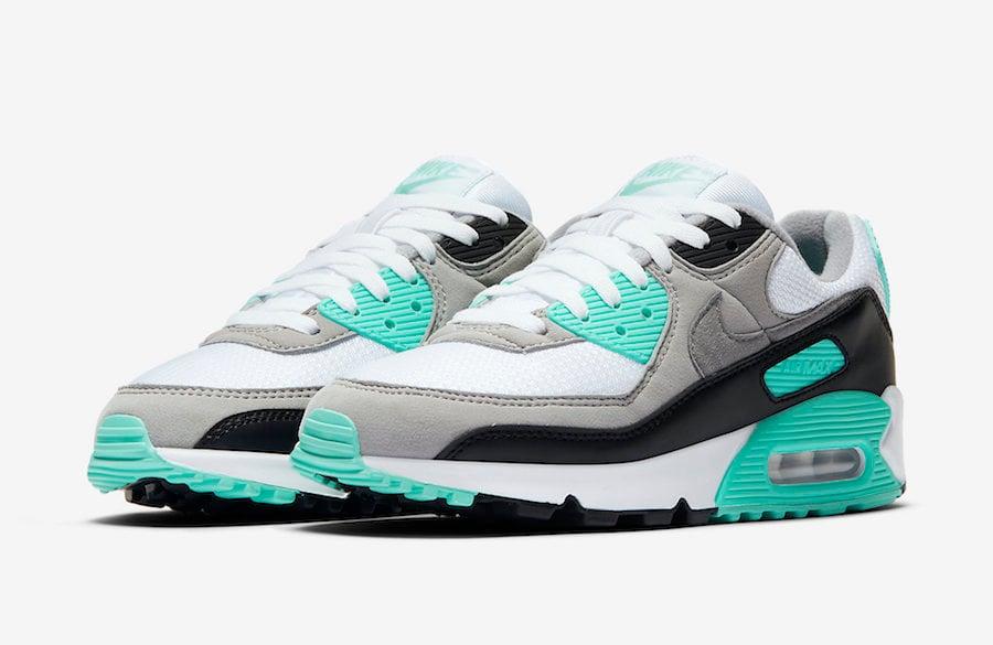 Nike Air Max 90 Mesh GS shoes white turquoise black