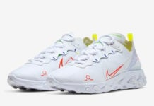 Nike React Element 55 Schematic White Blue Green Crimson CU3009-101 Release Date Info