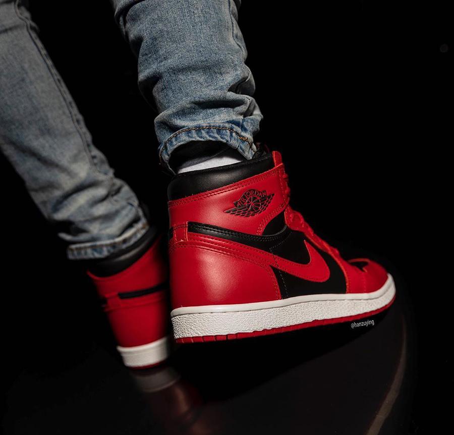 Air Jordan 1 Hi 85 Varsity Red Reverse Bred BQ4422-600 On Feet