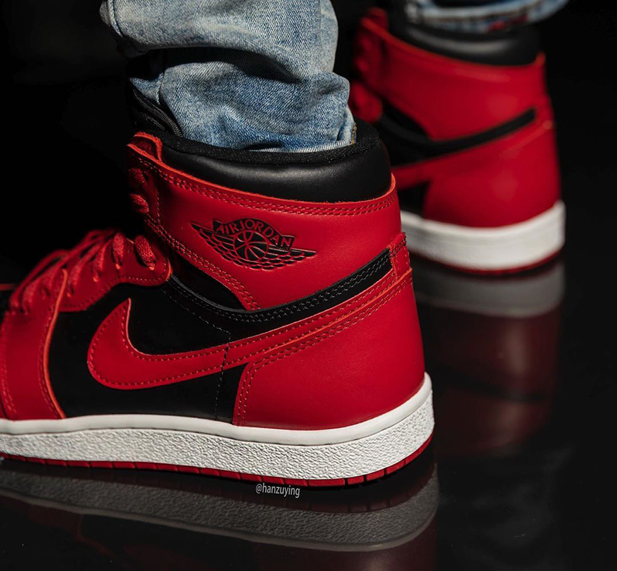 Air Jordan 1 Hi 85 Varsity Red Reverse Bred BQ4422-600 On Feet