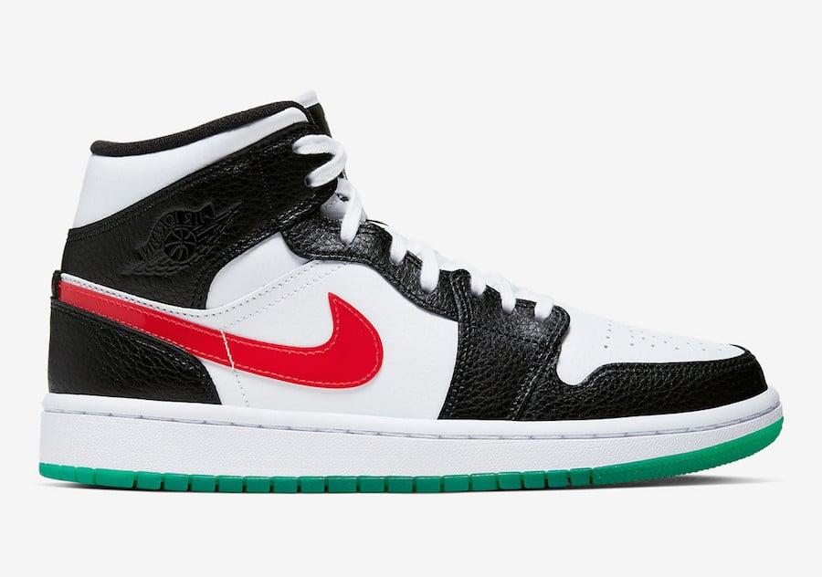 Air Jordan 1 Mid Alternate Swoosh Black Red White Green BQ6472-063 Release Date Info