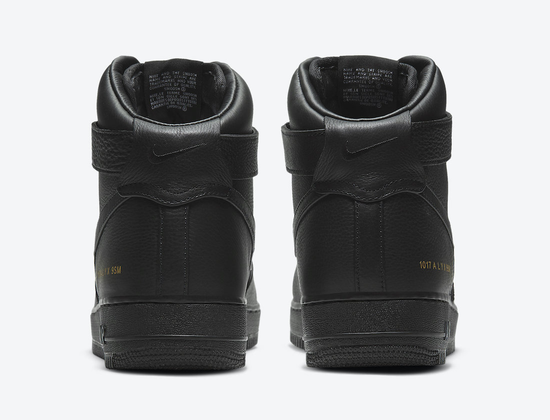 Alyx Nike Air Force 1 High Black Gold CQ4018-001 Release Date