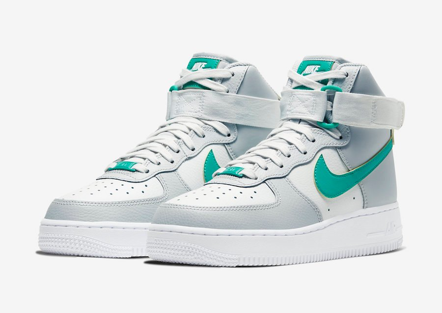 Nike Air Force 1 High Grey Fog Neptune Green 334031 015