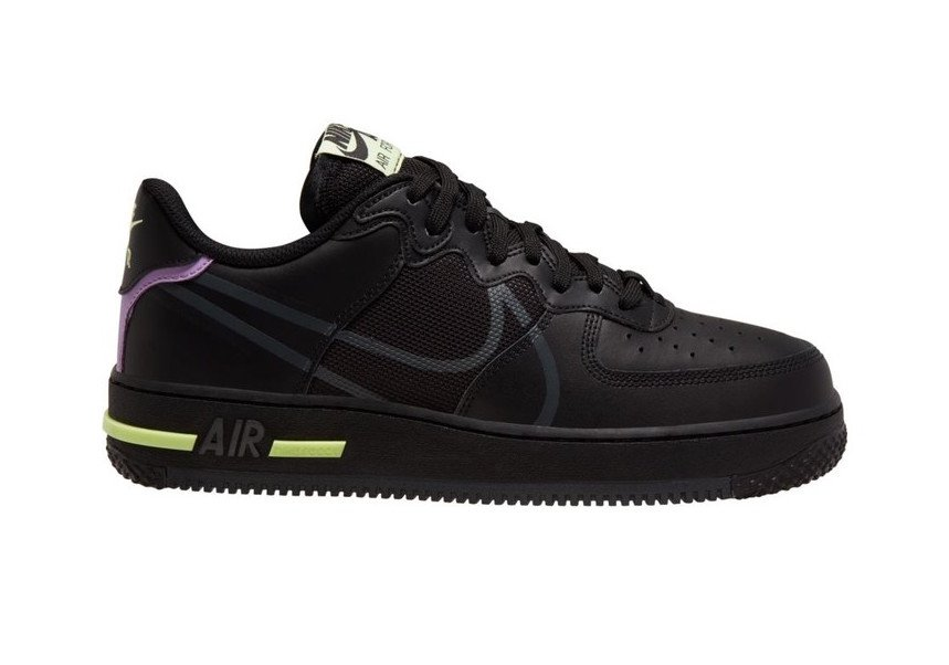 Nike Air Force 1 React Anthracite Violet Star Barely Volt CD4366-001 Release Date Info