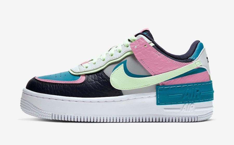 Nike Air Force 1 Shadow Aqua Pink Volt CK3172-001 Release Date Info