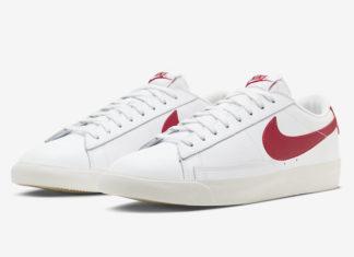 Nike Blazer Low Leather White University Red CI6377-102 Release Date Info
