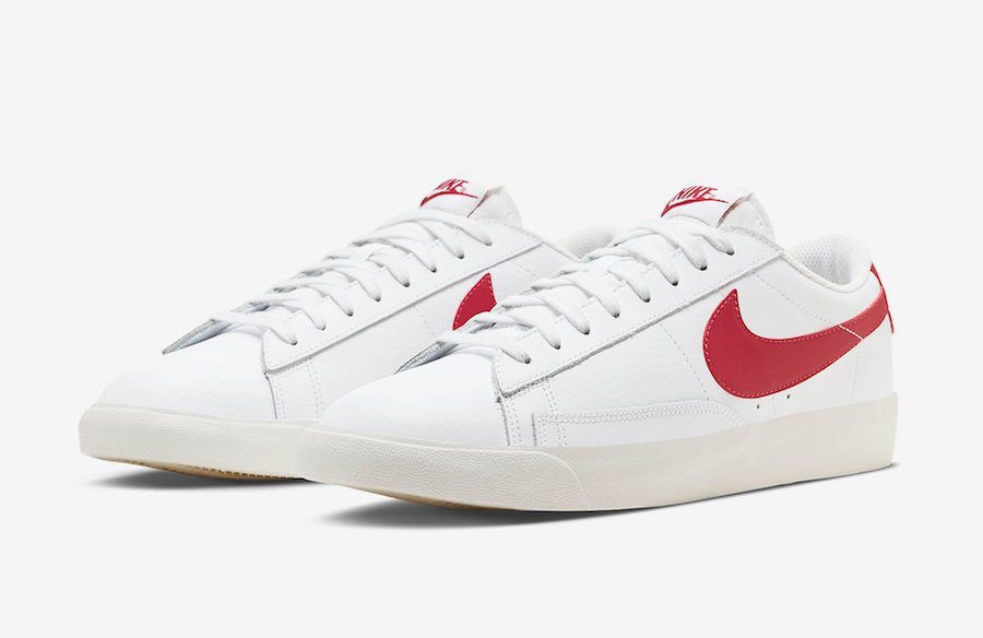 Nike Blazer Low Leather White University Red CI6377-102 Release Date Info
