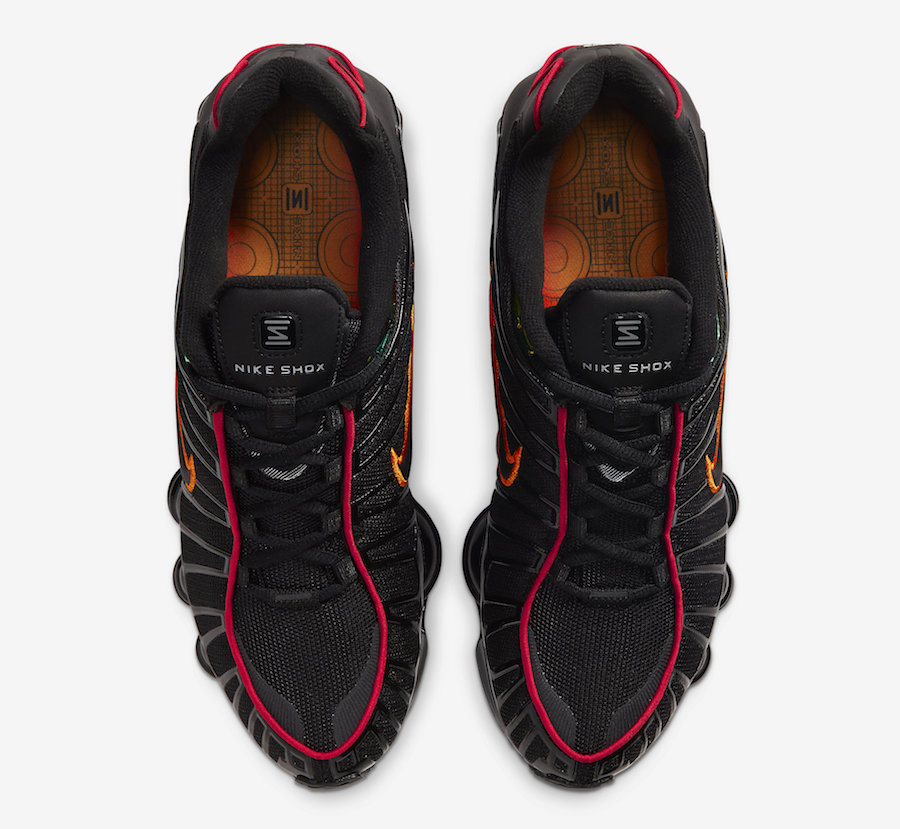 Nike Shox TL Black Red Orange CV1644-001 Release Date Info