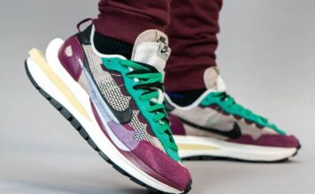Sacai Nike Pegasus VaporFly String Black Villain Red Neptune Green DD3035-200 On Feet