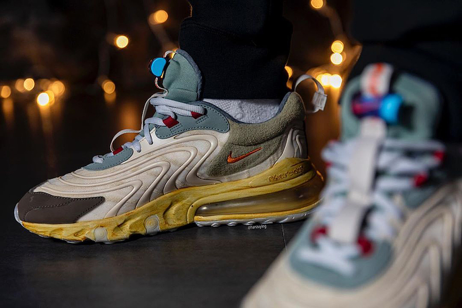 Travis Scott Nike Air Max 270 React CT2864-200 On Feet