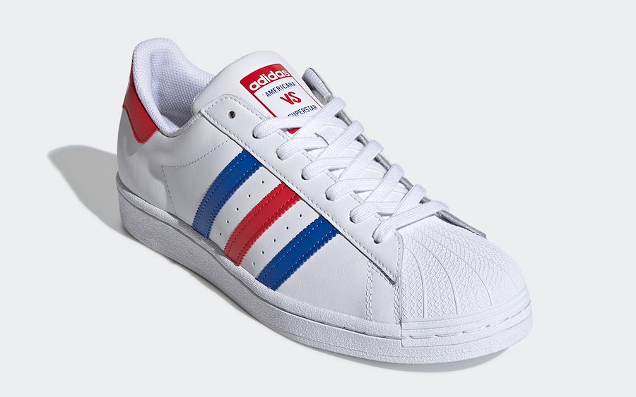 adidas Americana vs. Superstar White Blue Red FV2806 Release Date Info