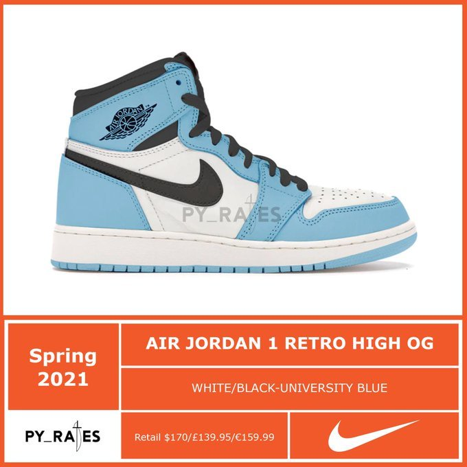 Air Jordan 1 High OG University Blue 2021 555088-134 Release Date Info