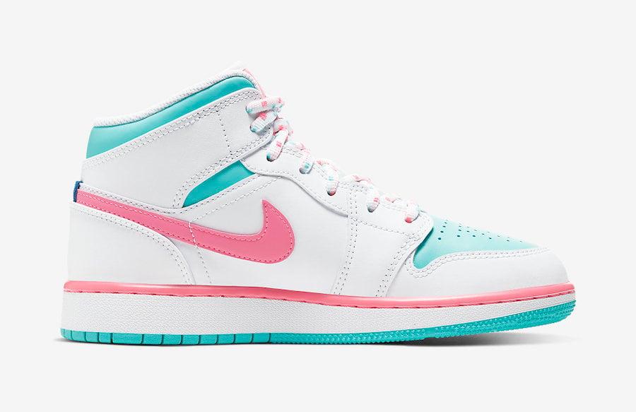 Air Jordan 1 Mid GS Digital Pink Aurora Green 555112-102 Release Date Info