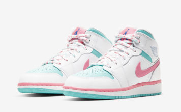 Air Jordan 1 Mid GS Digital Pink Aurora Green 555112-102 Release Date Info