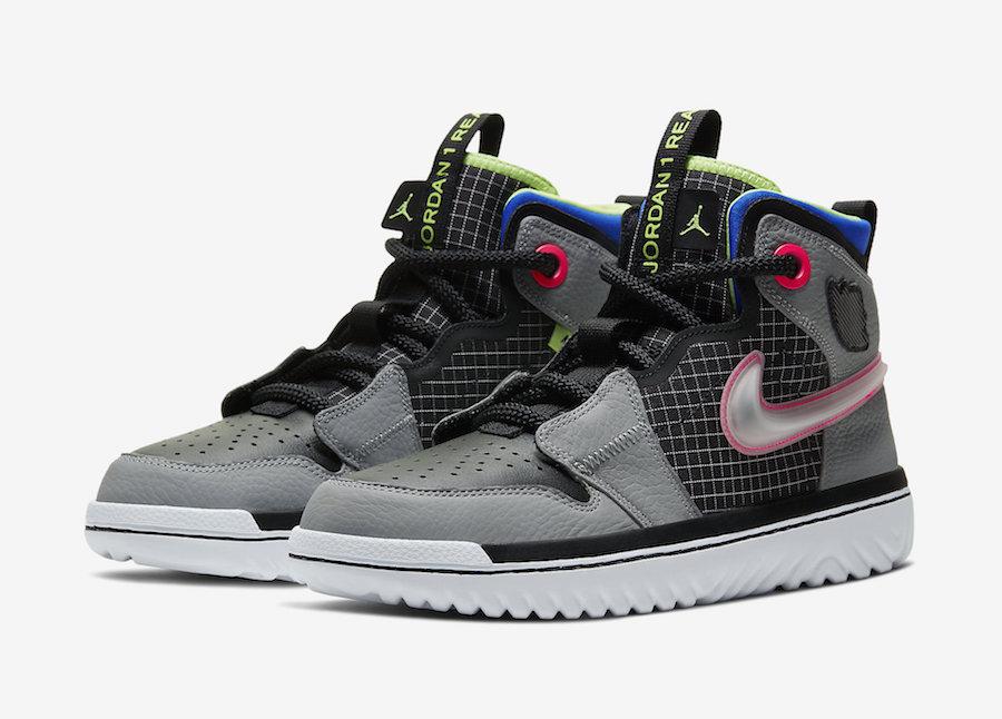 Air Jordan 1 React Black Grey Green Blue Pink AR5321-002 Release Date Info