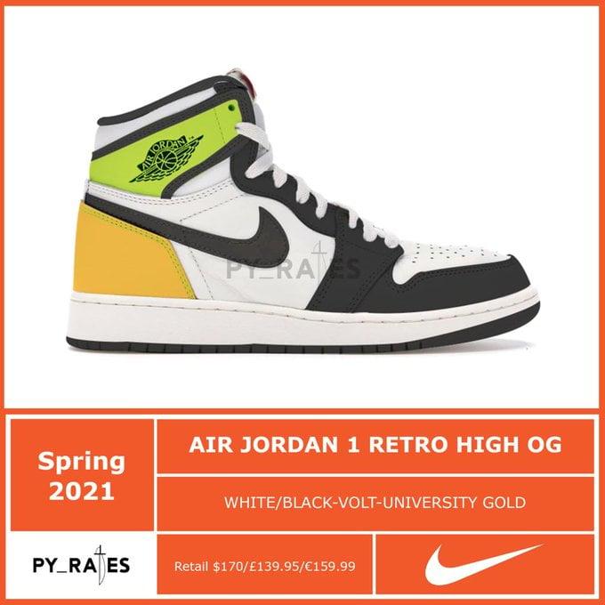 Air Jordan 1 Volt University Gold 2021 555088-118 Release Date
