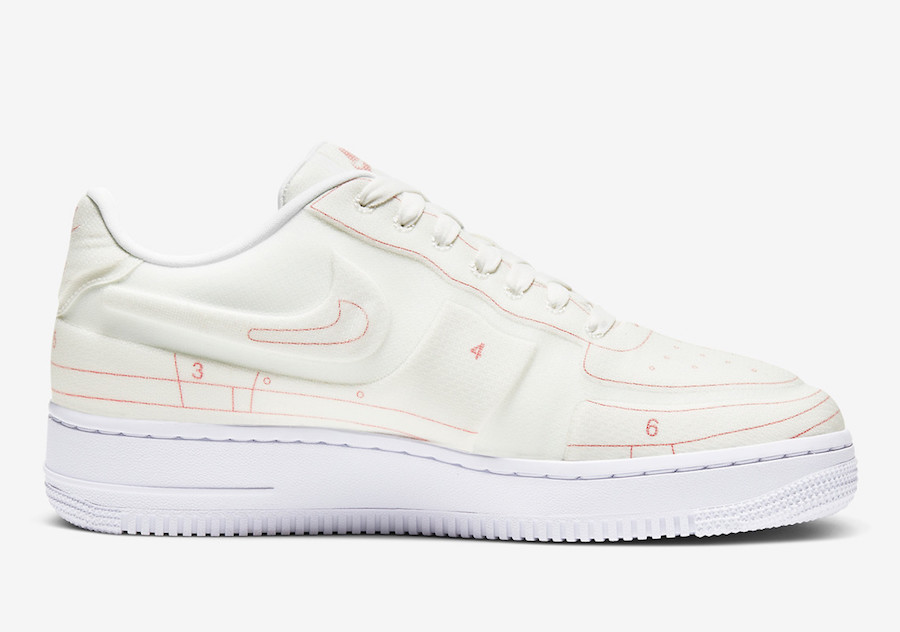 Nike Air Force 1 Low LX Blueprint Summit White University Red CI3445-100 Release Date Info