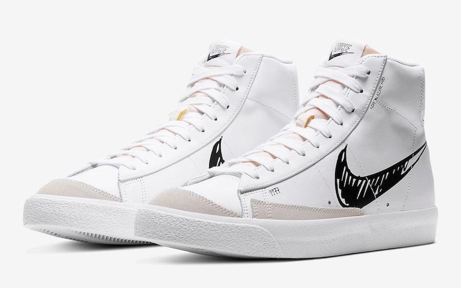 Nike Blazer Mid 77 Sketch White Black CW7580-101 Release Date Info