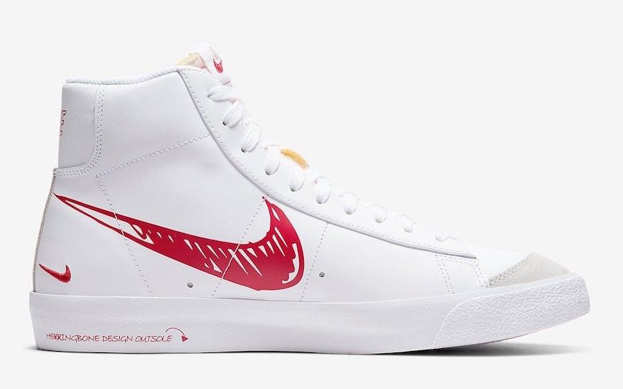 Nike Blazer Mid 77 Sketch White Red CW7580-100 Release Date Info