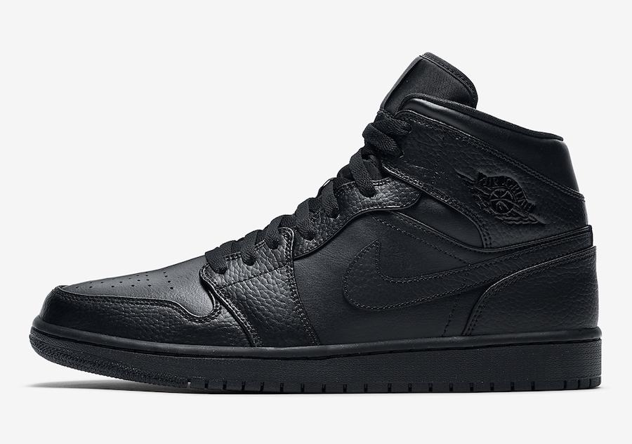 Air Jordan 1 Mid Triple Black 554724-091 Release Date Info