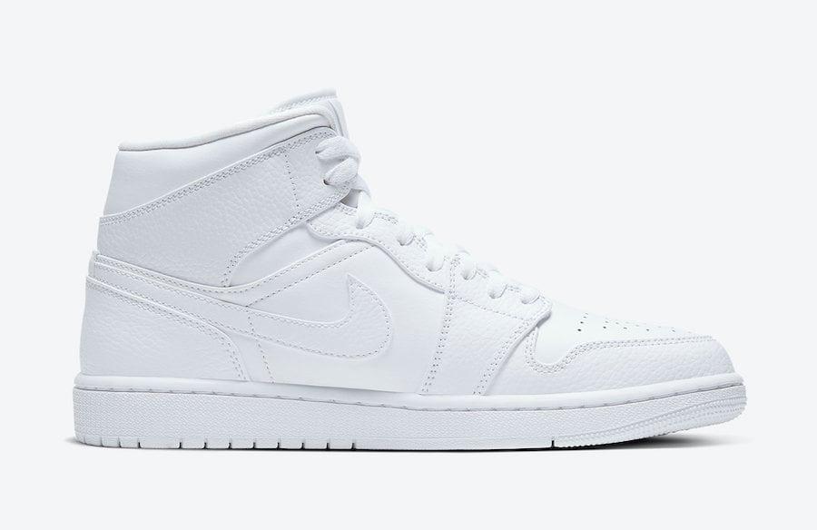 Air Jordan 1 Mid Triple White 554724-130 Release Date Info