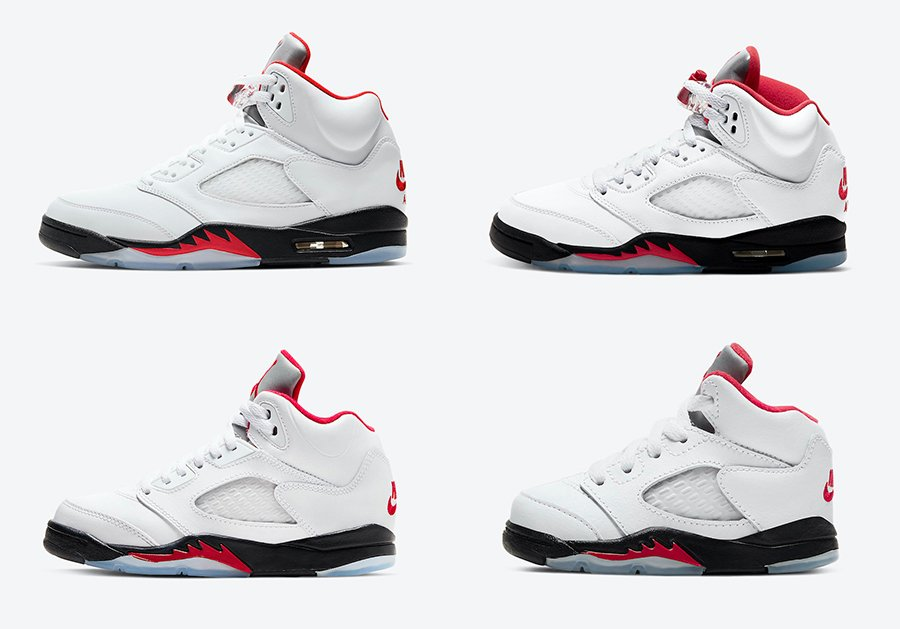 Air Jordan 5 Fire Red Full Family Sizing