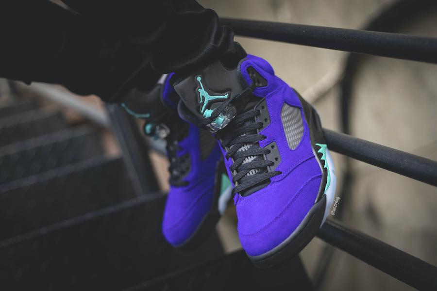 Alternate Grape Air Jordan 5 136027-500 On Feet