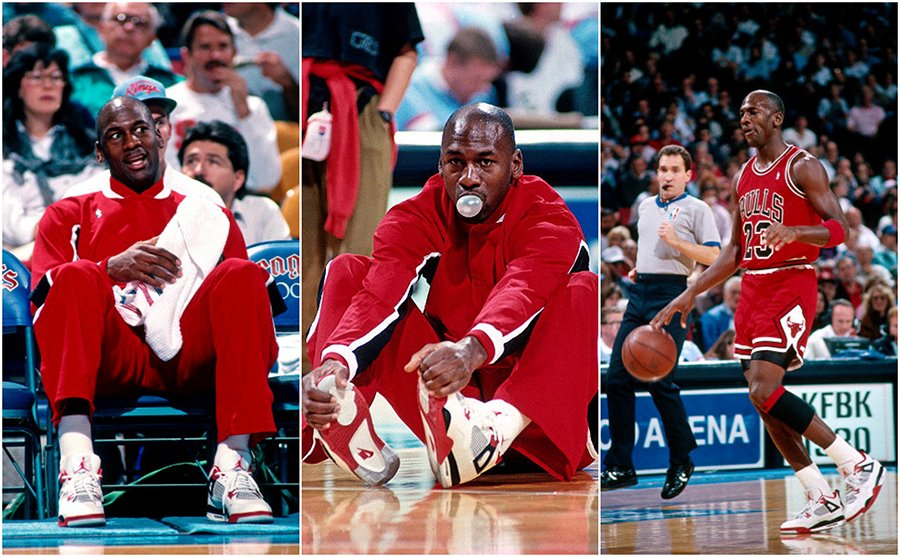 Michael Jordan Wearing Air Jordan 4 Fire Red 1989
