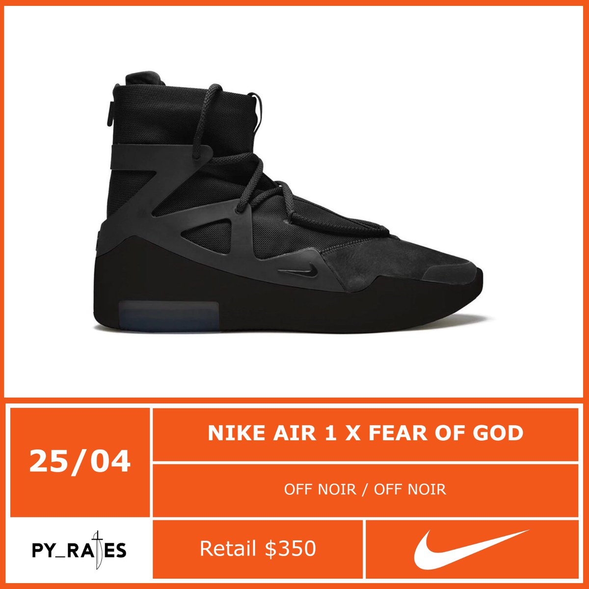 Nike Air Fear of God 1 Black Release Date