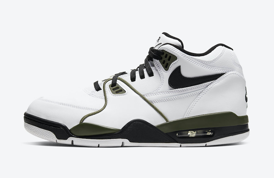 Nike Air Flight 89 White Medium Olive Green Black CJ5390-101 Release Date Info