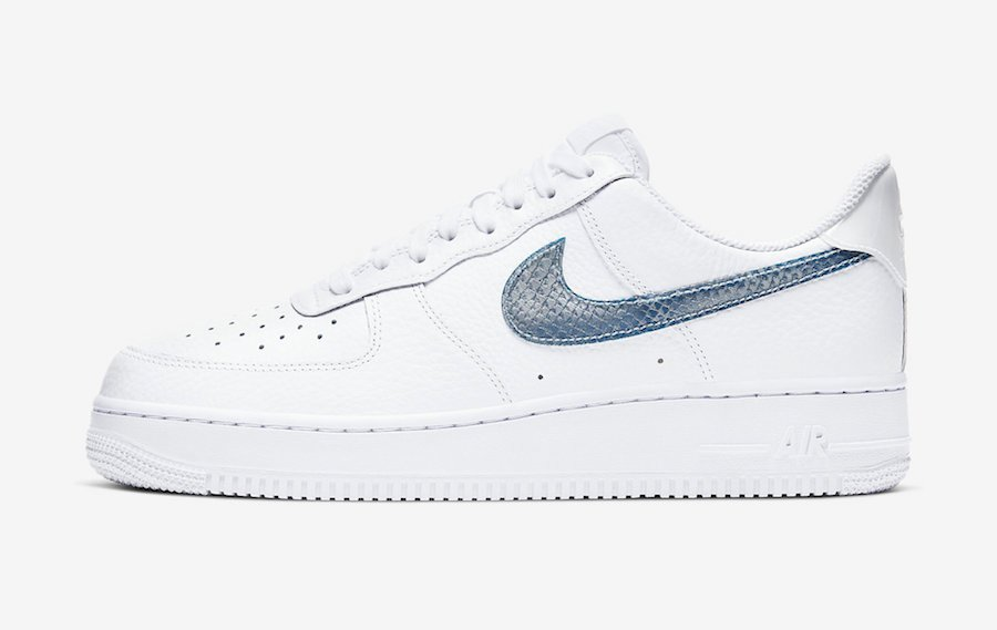 Nike Air Force 1 Low Blue Snakeskin Pony Hair CW7567-100 Release Date Info