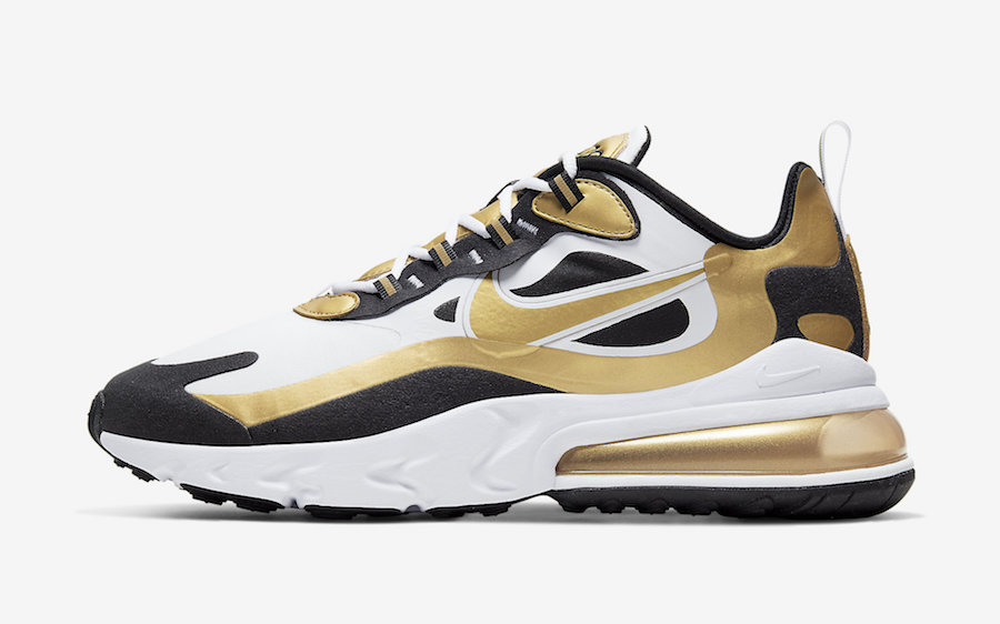 Nike Air Max 270 React White Black Gold CW7298-100 Release Date Info