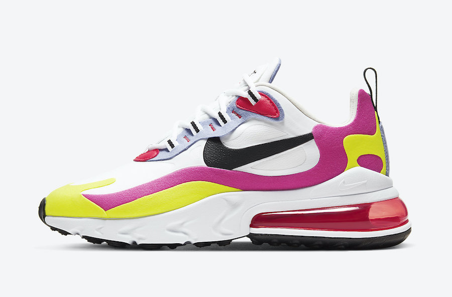 Nike Air Max 270 React White Pink Yellow CZ9351-100 Release Date Info