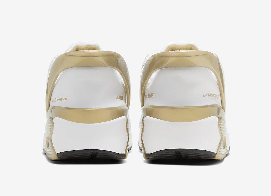 Nike Air Max 90 FlyEase White Metallic Gold CU0814-100 Release Date Info