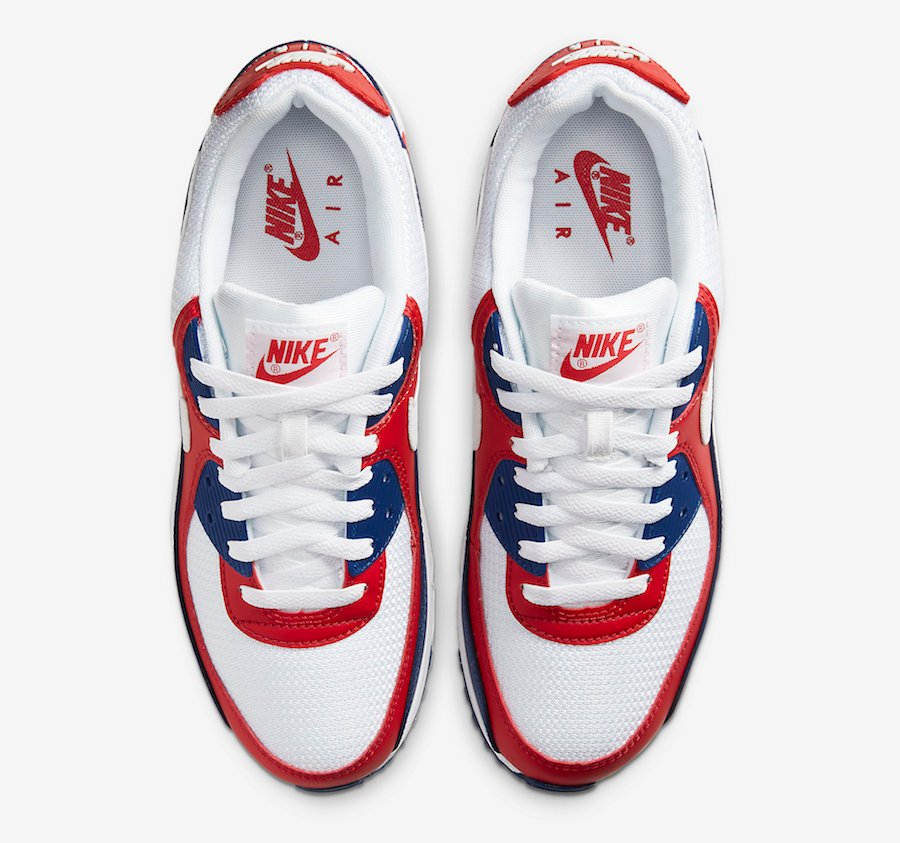 Nike Air Max 90 USA White Red Navy CW5456-100 Release Date Info