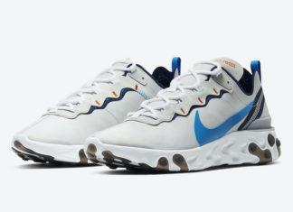 Nike React Element 55 Vast Grey Clear Blue CZ3595-041 Release Date Info