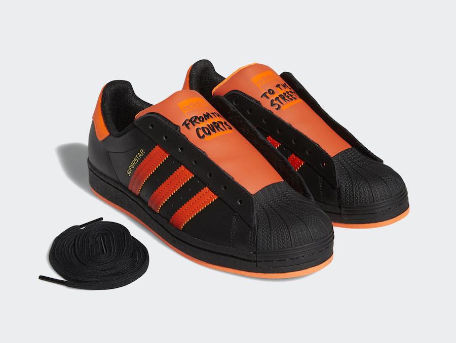 adidas Superstar Laceless Black Orange