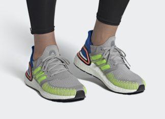 adidas Ultra Boost 2020 Grey Signal Green Glory Blue FX0899 Release Date Info