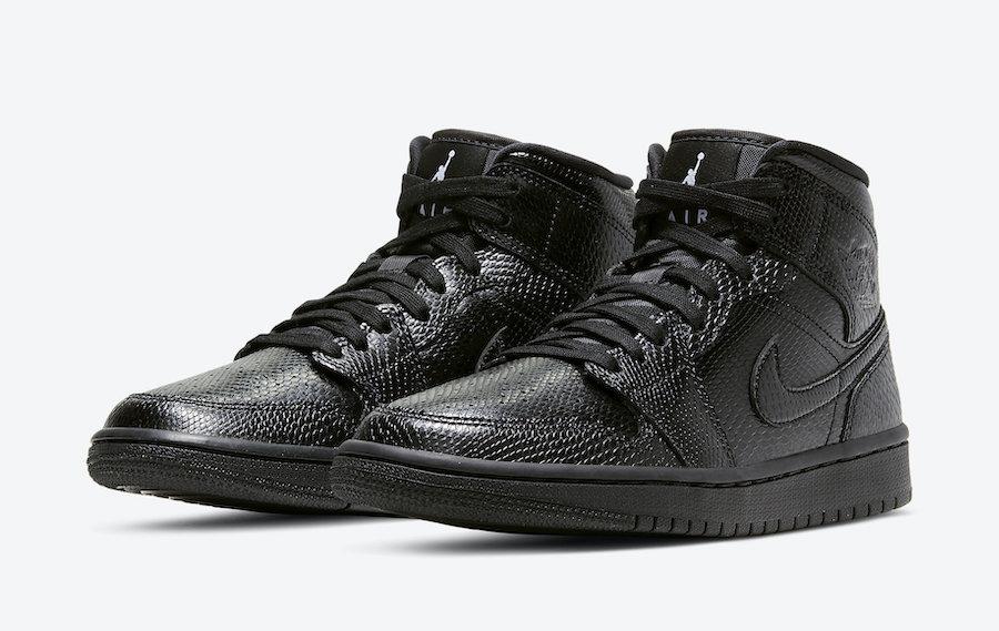 Air Jordan 1 Mid Black Snakeskin BQ6472-010 Release Date Info   SneakerFiles