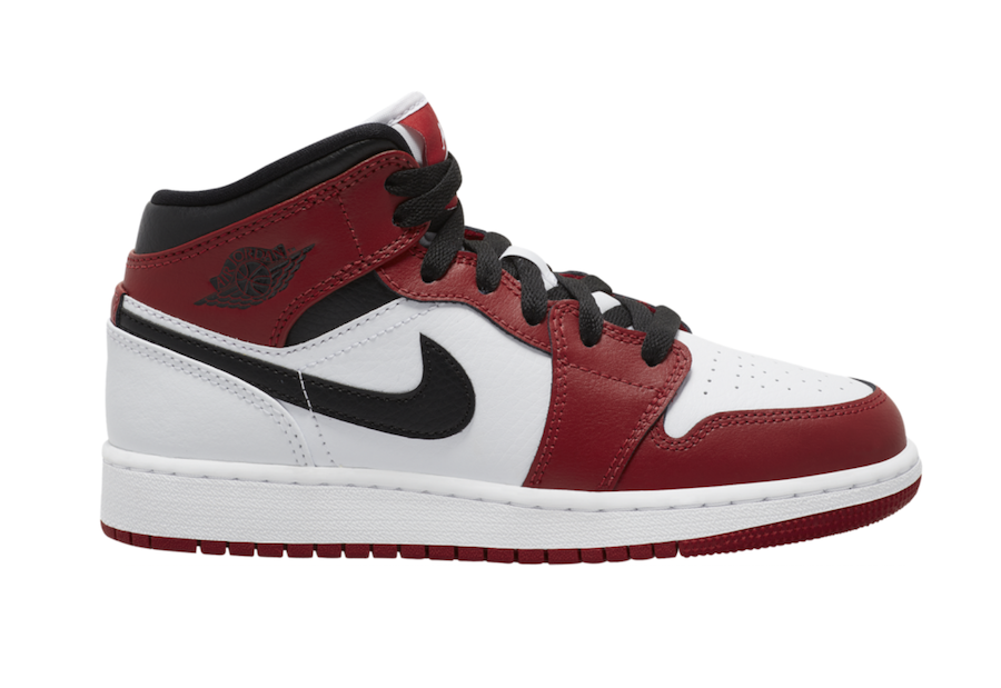Air Jordan 1 Mid GS White Gym Red Black 554725-173