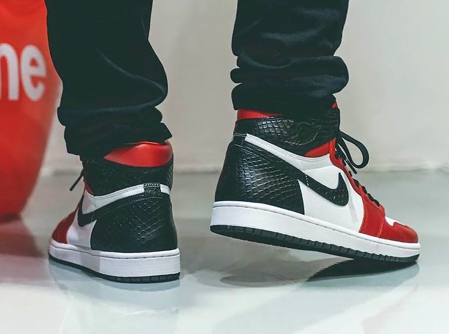 Air Jordan 1 Satin Snake CD0461-601 On Feet