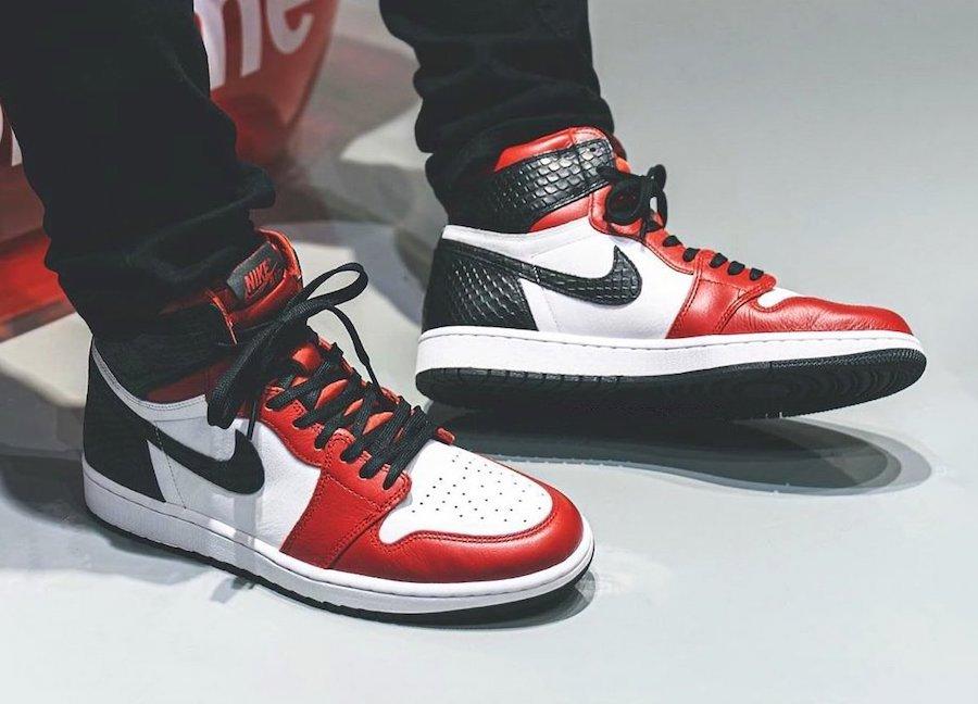Air Jordan 1 Satin Snake CD0461-601 On Feet