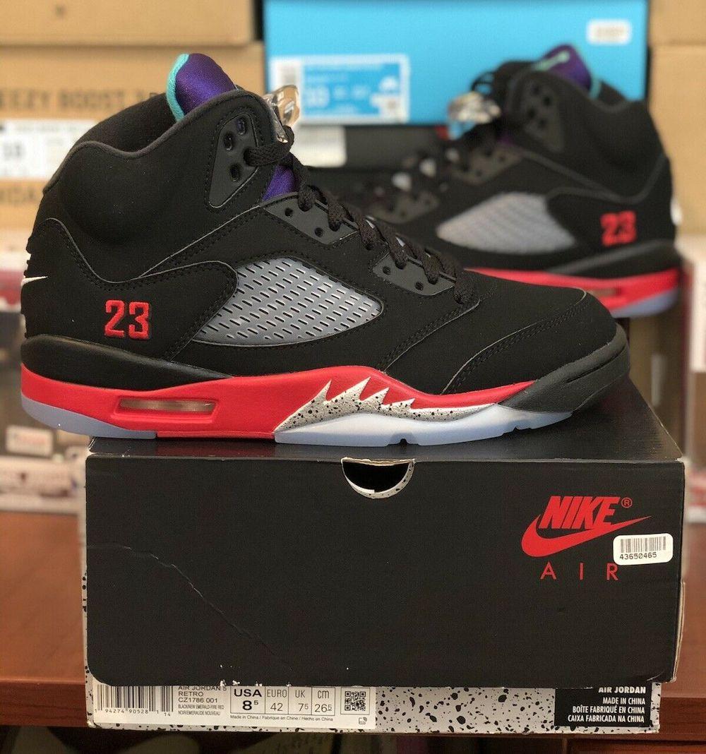 Air Jordan 5 Top 3 Black New Emerald Fire Red CZ1786-001 Release Date