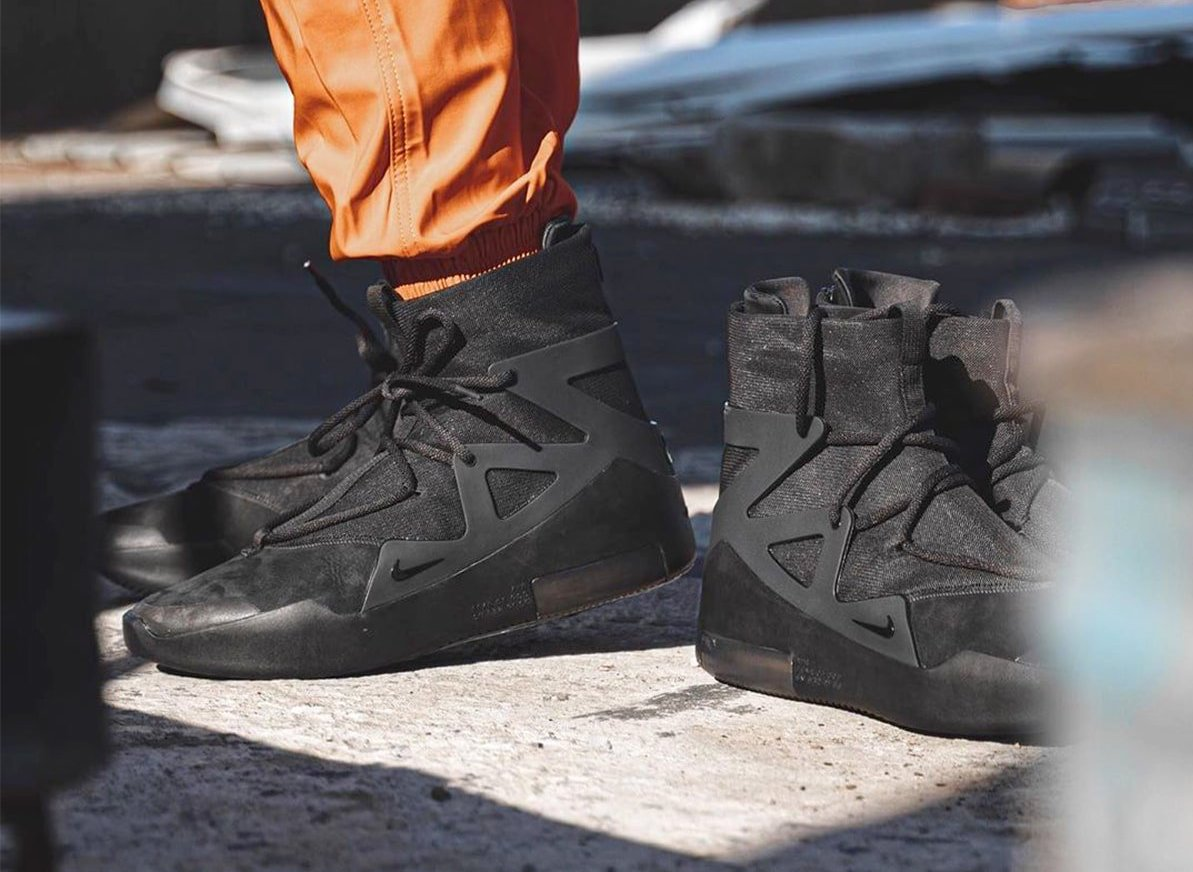 Nike Air Fear of God 1 Triple Black AR4237-005 On Feet