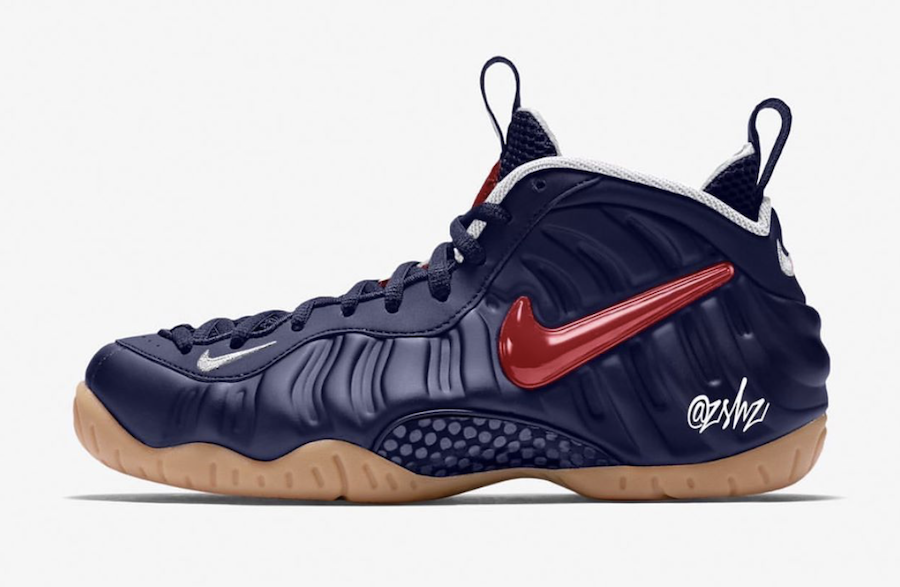 Nike Air Foamposite Pro Blue Void Gum Light Brown White University Red CJ0325-400 Release Date Info