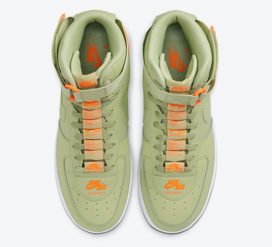 Nike Air Force 1 High Olive Aura Total Orange CJ1385-300 Release Date Info