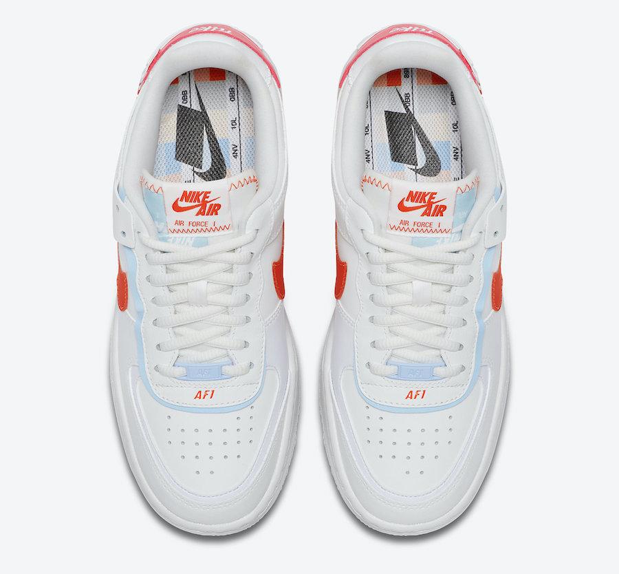 Nike Air Force 1 Shadow White Team Orange CQ9503-100 Release Date Info